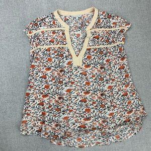 Lucky Brand XL cap sleeve floral knit top